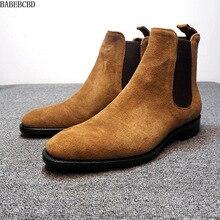 حذاء رجالي صناعة تقليد الغزلان الجلد تشيلسي أحذية رجالية غير رسمية مكافحة المخملية عالية أعلى الأحذية مارتن الأحذية الذكور 48