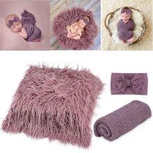 Blankets Photography-Props Headband Wrap Toddler Photo Newborn 3PCS Long-Ripple