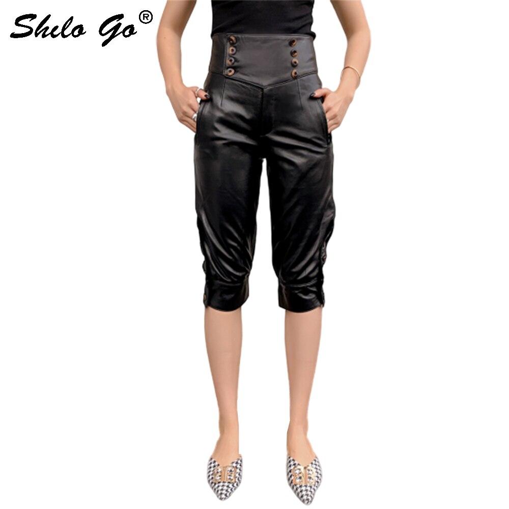 Genuine Leather Pants England Double Breasted High Waist Sheepskin Knee Length Boots Pants Women Autumn Winter Harem Trousers