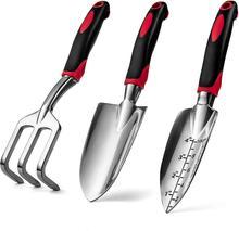 3 szt Zestaw narzędzia ogrodnicze ze stopu aluminium z ergonomicznymi uchwytami kultywator łopaty ręczne do ogrodnictwa tanie tanio Adeeing CN (pochodzenie) Wielofunkcyjny łopata i łopata STAINLESS STEEL PHO_0QB Ogród łopata