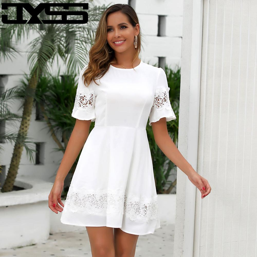 JYSS spring summer women white dresses girl slim elegant lace dress for party sweet short sleeve hollow out mini 50073