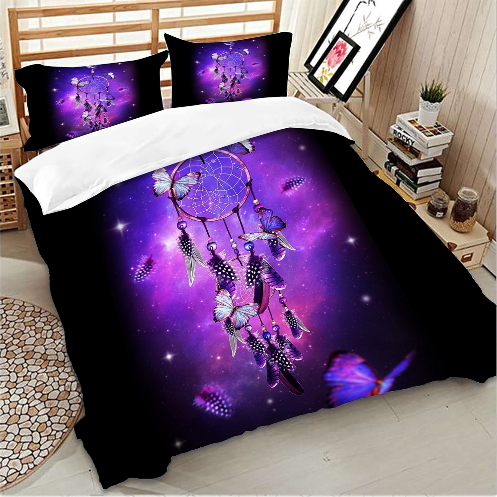 Dreamcatcher Butterfly Bedding Sets purple color Duvet Cover Set Bed Cover Single twin queen size polyester bedlinen 3pcs in Bedding Sets from Home Garden