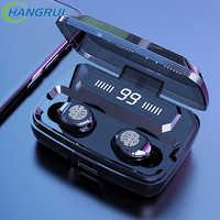 TWS nowy F9 bezprzewodowy zestaw słuchawkowy Bluetooth 5.0 globalny bezprzewodowy zestaw słuchawkowy wyświetlacz LED z 3500mAh Power Bank z mikrofonem PK GT1 i20000