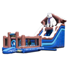цена на Giant Polar-water Slide Inflatable Slide Outdoor Bouncer Slide House with Pool for KIds