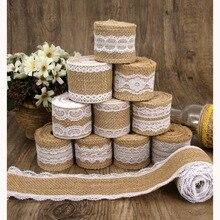 2 meters 5cm natural jute burlap ribbon cotton edge DIY trim fabric sewing wedding decoration lace