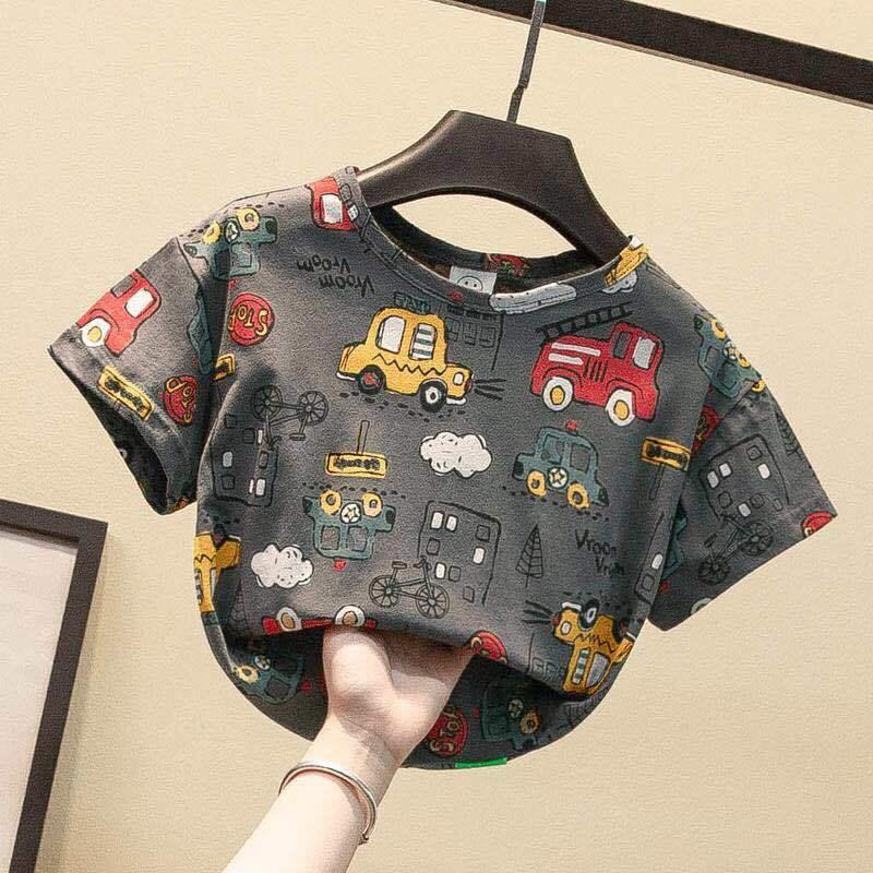 VIDMID Summer New Men's Clothes Children's Boys' Top Cartoon Car Pure Cotton Short Sleeve Casual Round Neck T-shirt P107 2
