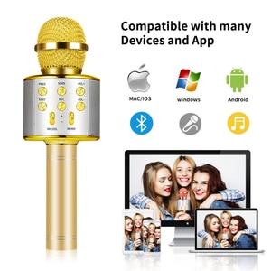 Беспроводной Bluetooth микрофон WS858 для караоке, профессиональный динамик, Ручной конденсаторный микрофон, проигрыватель для вокала, с рекордером, микрофон Микрофоны      АлиЭкспресс