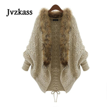 Jvzkass 2019 autumn and winter new large size womens knit cardigan bat sleeve fur collar coat loose Z331