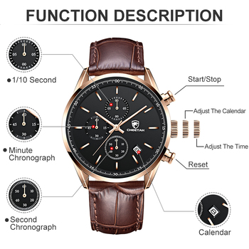 2021 New Men Watch CHEETAH Waterproof Quartz Men Watches Chronograph Sport Wristwatch Leather Business Male Clock Watch With Box 3
