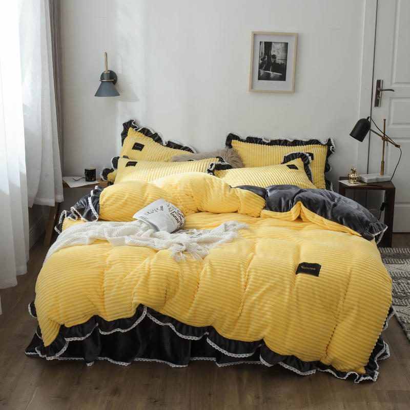 Bunny Luxury Flock Bed Skirt Selectable 2019 Thick Warm Comfortable Double-sided Plush Dyed Four-piece Set Bedding Article