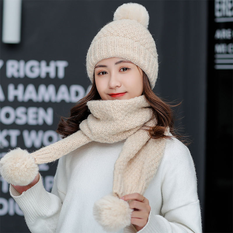 2PCS Hat Scarf Set Autumn Winter Korean Fashion Pom Pom Wool Thicken Sweet Lovely Warm Female Knitted Hats Sets F28702AD