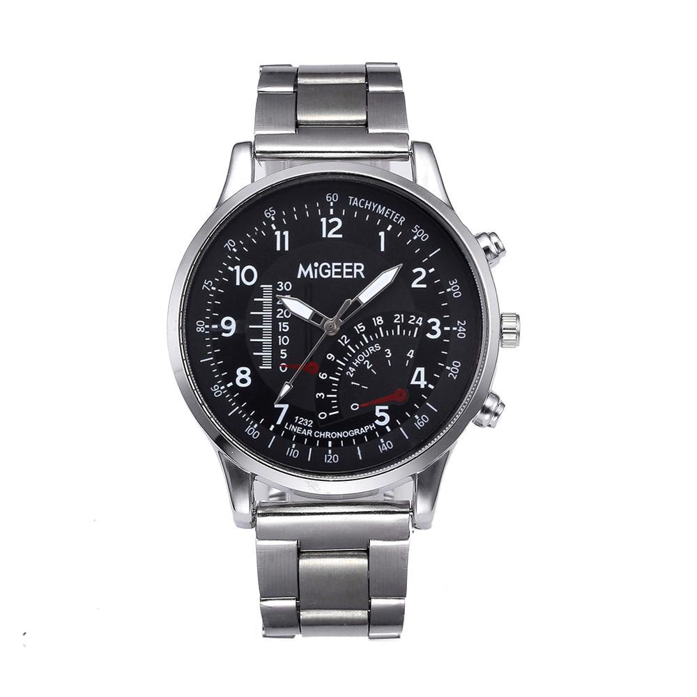 MIGEER Mens Watch Luxury Top Brand Design Stainless Steel Analog Alloy Quartz Wrist Watch Women Clock Relogio Masculino 2019