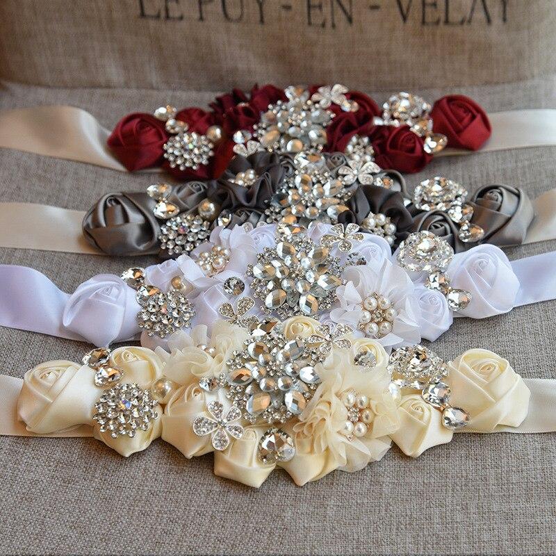 Womens Elegant Red White Flower Sash Rhinestone Beaded Waistband Bridal Ribbon Cummerbunds Wedding Dress Waist Floral Belt B10