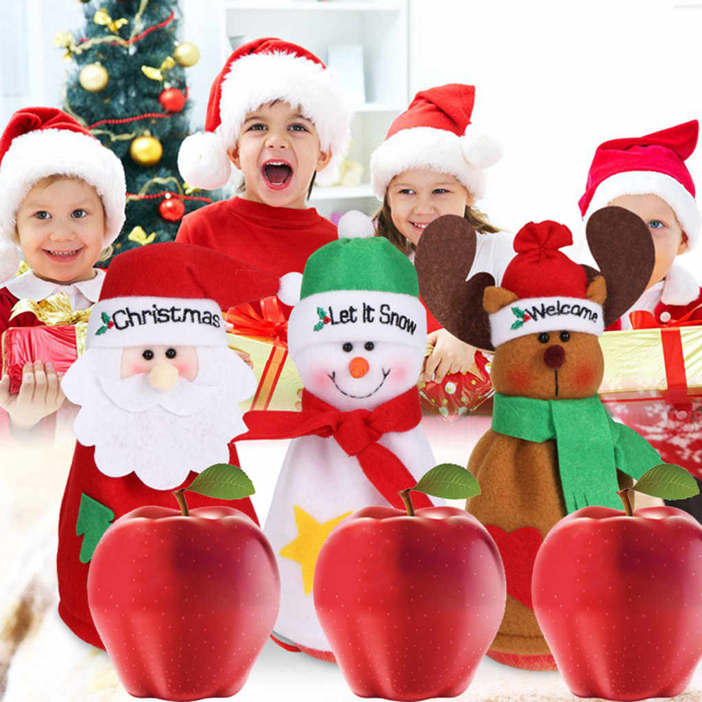Christmas Apple Strage Bags Kids Gift Candy Gift Boxes For Xmas Party Decoration Main Material Flannelette Size 11X19cm candies