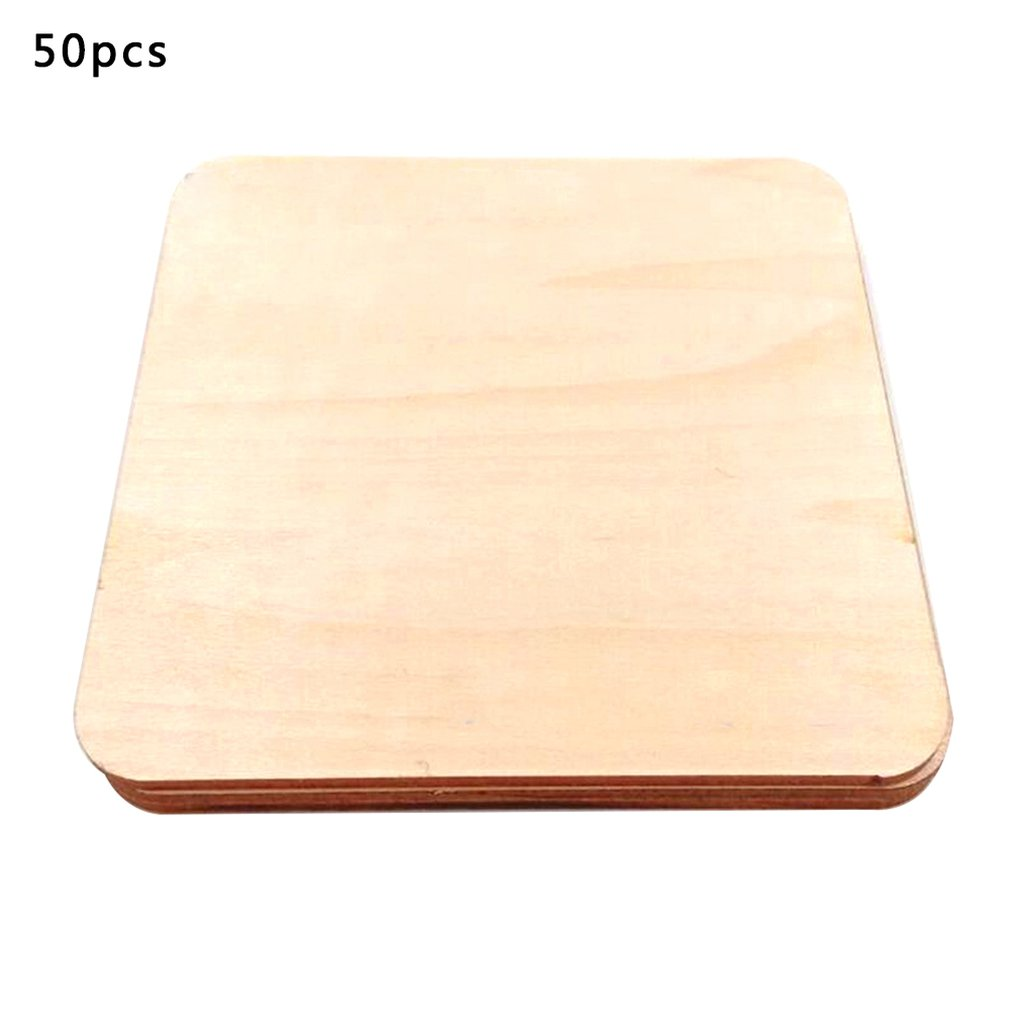 Jm01467 Wood Rounded Square Wood Chips Diy Green Wood Sandwich Shaped Wood Chips 40Mm 50Pcs One Pack