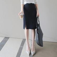 Summer new workplace hundred package hip skirt half skirt temperament thin section high waist open thin half skirt
