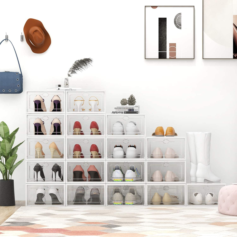 6Pcs Transparent Shoe Box Storage Drawer Thickened Case Plastic Shoe Boxes Stackable Box Shoe Organizer Shoebox