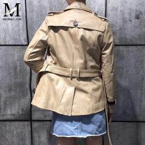 Image 5 - Spring Genuine Leather Jacket Women Classical Elegant Sheepskin Leather Jacket Belt Short
