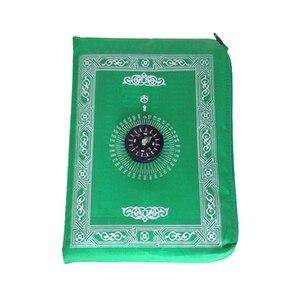 Image 2 - Przenośna wodoodporna muzułmańska mata do modlitwy dywan z kompasem wzór Vintage islamska Eid dekoracja prezent kieszonkowy rozmiar torba na suwak w stylu