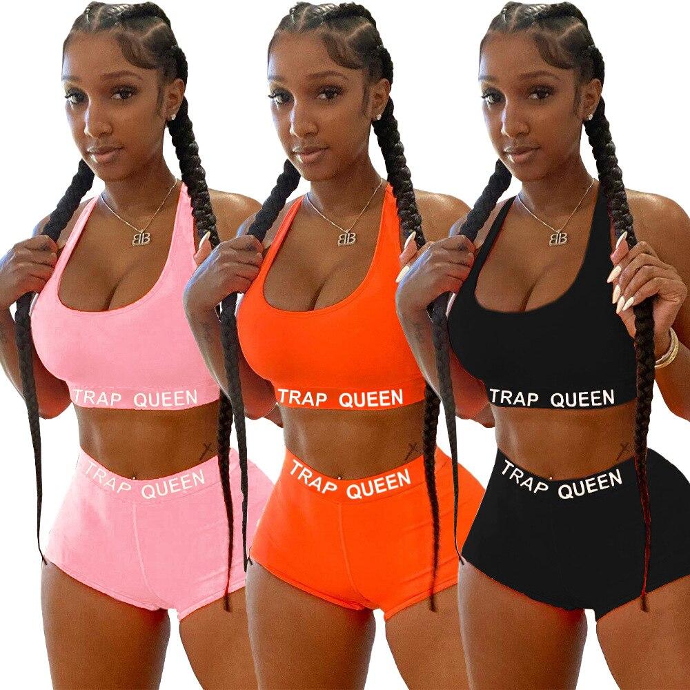 Kadın Yoga setleri spor yelek kırpma üstleri yaz Boxer off-omuz sıkı elastik dikişsiz şort spor spor giyim