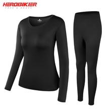 HEROBIKER, женское термобелье с флисовой подкладкой, комплект зимнего эластичного мотоциклетного лыжного спорта, теплые кальсоны, рубашки и топы, нижний костюм