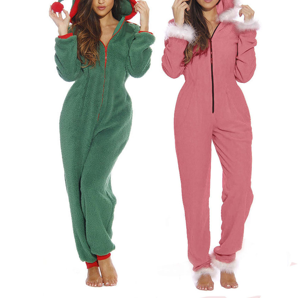 2019 Autumn Winter New Women Jumpsuit Casual Solid Zipper Hooded Christmas Clown Hat Home Plush Jumpsuit Loose Jumpsuits Oc9