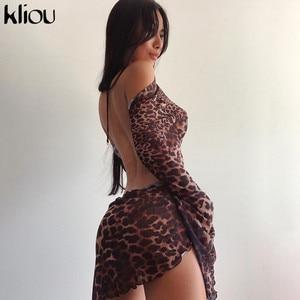 Kliou Bandage Leopard Loose Mini Dresses Women 2020 Fashion Streetwear Hot Sexy Backless Party Clubwear Female платье Outfit