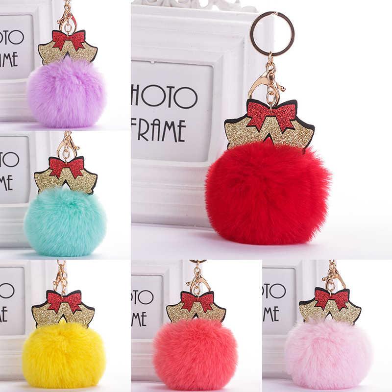 Bonito moda feminina saco de artesanato presente pingente de natal bola de cabelo chaveiro pingente de carro de pelúcia chaveiro
