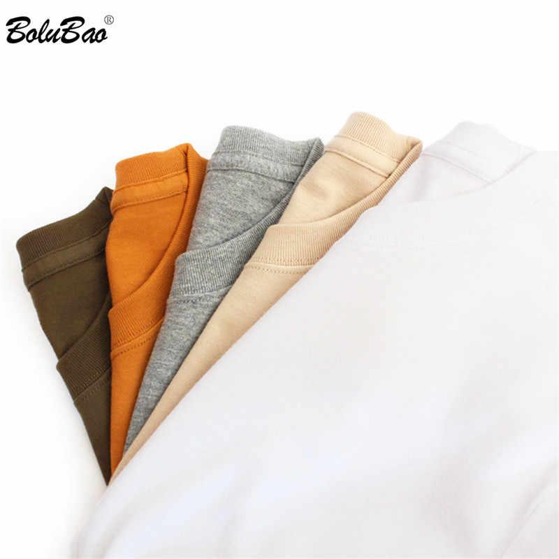 Bolubao 브랜드 남성 캐주얼 티셔츠 오크 넥 솔리드 컬러 남성 티셔츠 슬림 피트 코튼 반소매 티셔츠 유니섹스 탑 & 티셔츠