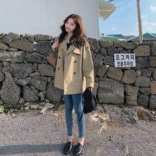 Trench-Coat Outwear Short Double-Breasted-Belt Turn-Down-Collar Khaki Autumn Women New