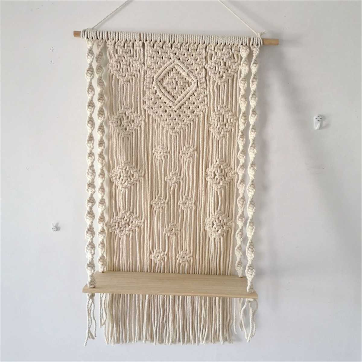 40x15cm Bohemian Wooden Handmade Macrame Wall Hanging Rope Shelf Floating Plant Rack Stand Macrame Tapestry Home Decor Ornament