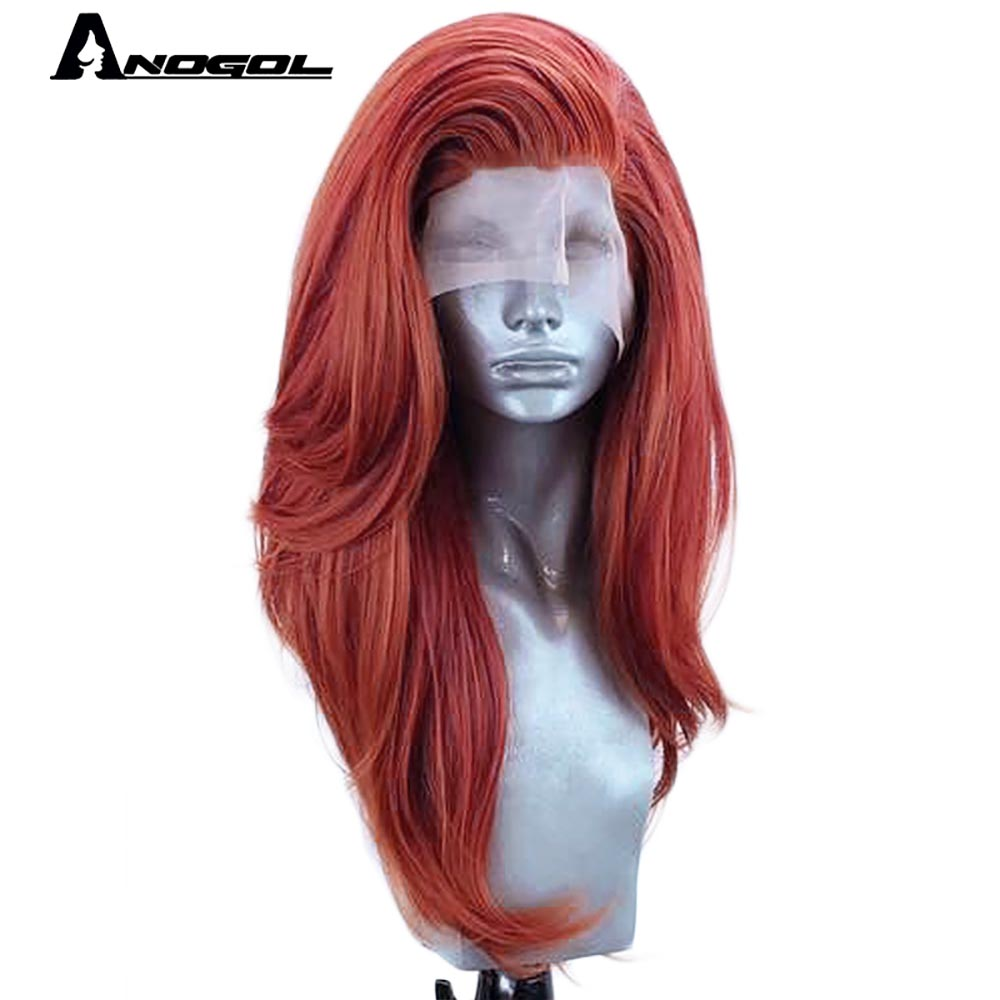 Anogol Free Part Long Natural Wave Heat Resistant Fiber Copper Red Yellow Synthetic Lace Front Wig Hair for Women