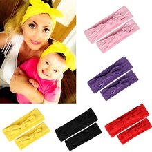 2PCS/Set Mom Mother & Daughter Kids Baby Girl Bow Headband Hair Band Accessories Parent-Child Family Headwear Head Band Headdres(China)