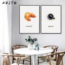 Pintura en lienzo de café y pan, póster de cocina de comida y bebida, impresión minimalista, imagen artística de pared, decoración de restaurante y comedor
