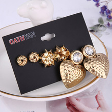 3 Pairs/set Fashion Hollow Metal Ball Gold Big Stud Earrings Set For Women Personalized Large Heart Earring Mixed Party Jewelry 3 pairs set trendy gold frosted heart stud earrings for women fashion metal hollow ball big circle earring set mixed jewelry