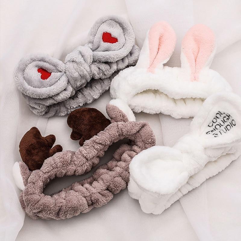 Laver le visage élastique pour cheveux bandeaux doux chaud corail polaire arc animaux oreilles bandeau pour femmes filles Turban mode cheveux accessoires