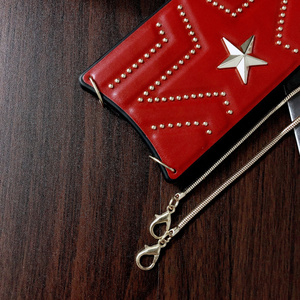Image 4 - New PU Leather Studded Pentagram Fhx 11K Phone Case with Metal Chain for 7 8Plus X XS MAX XR Available for iPhone 11Pro MAX