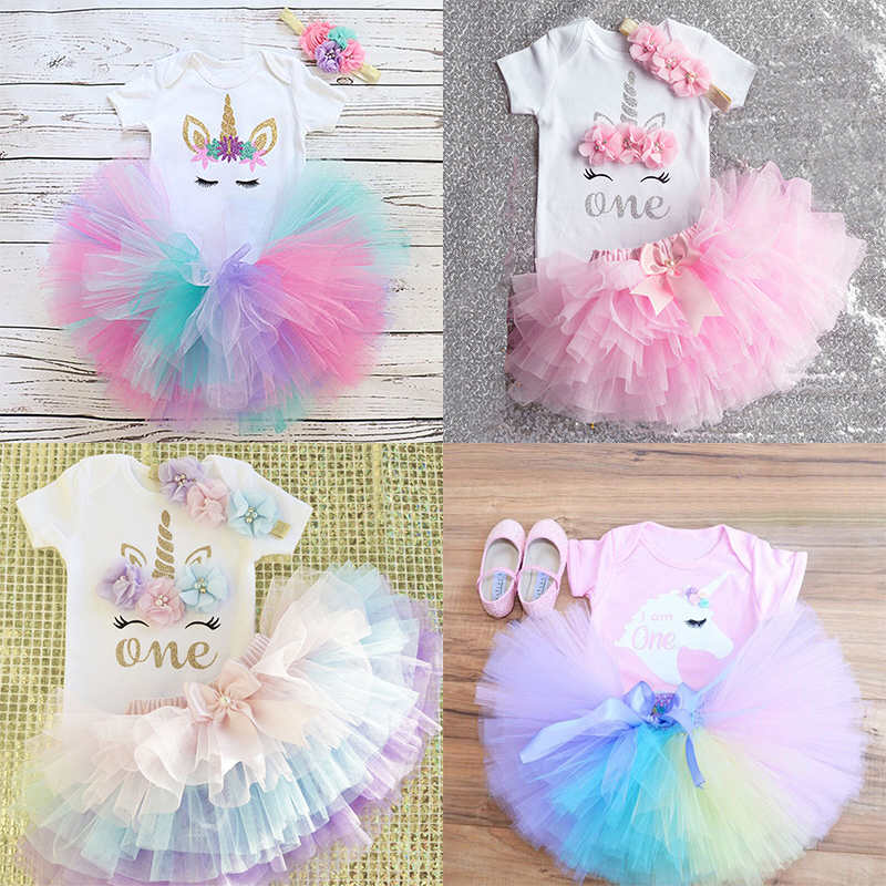1 Year Baby Girl Clothes Unicorn Party Tutu Girls Dress Newborn Baby Girls 1st Birthday Outfits Toddler Girls Boutique Clothing