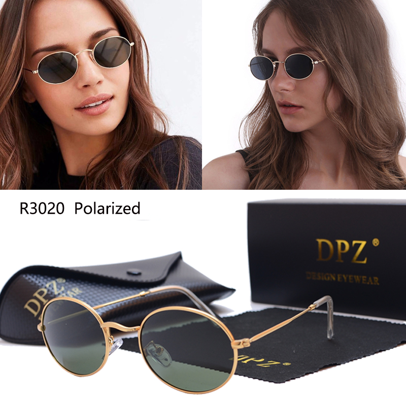 DPZ Classic 3020 Oval  Metal   Polarized Sunglasses  Women  Vintage Retro Brand Design Sun Glasses Oculos De Sol