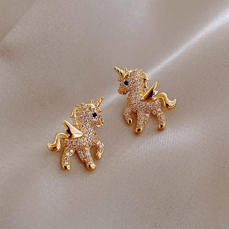 2021 New Cute Animal Stud Earrings for Women Temperament Horse Kitten Owl Pearl Rhinestone Earring Girls Birthday Party Jewelry