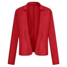 Для женщин нагрудные с длинным рукавом костюм пиджак-блейзер для мальчика женские офисные однотонные Цвет формальный пиджак пальто