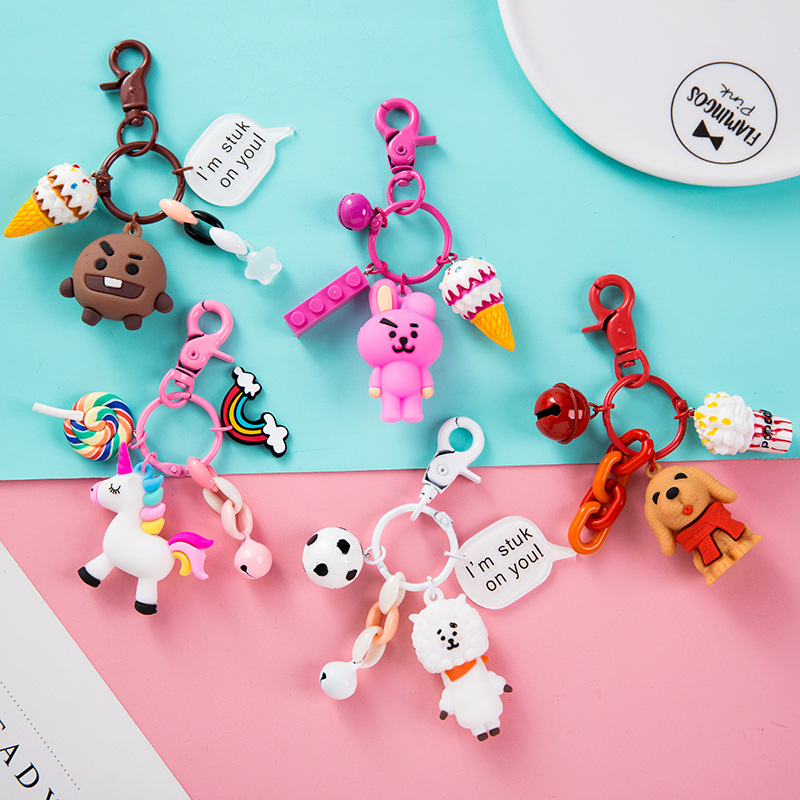 New Animal Unicorn Key Chain For Men Women Bag Ornament Rubber Key Chain Pey Ring Bag Decoration Accessories Office Supplies