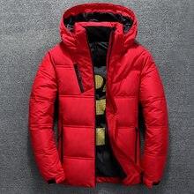 Parka à capuche, manteau décontracté pour homme, veste courte en duvet, épaisse, col droit, capuchon épais en plume de canard, blanc, automne hiver