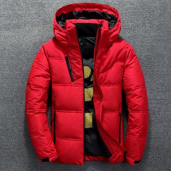 Zimowa ciepła męska kurtka płaszcz dorywczo jesień stojak kołnierz rozdymka gruby kapelusz biała kaczka Parka męskie męskie zimowe ocieplane kurtki z kapturem tanie i dobre opinie UNION ARMY CN (pochodzenie) REGULAR Detachable hat black red grey Na co dzień zipper Pełne Z KIESZENIAMI Zamki błyskawiczne