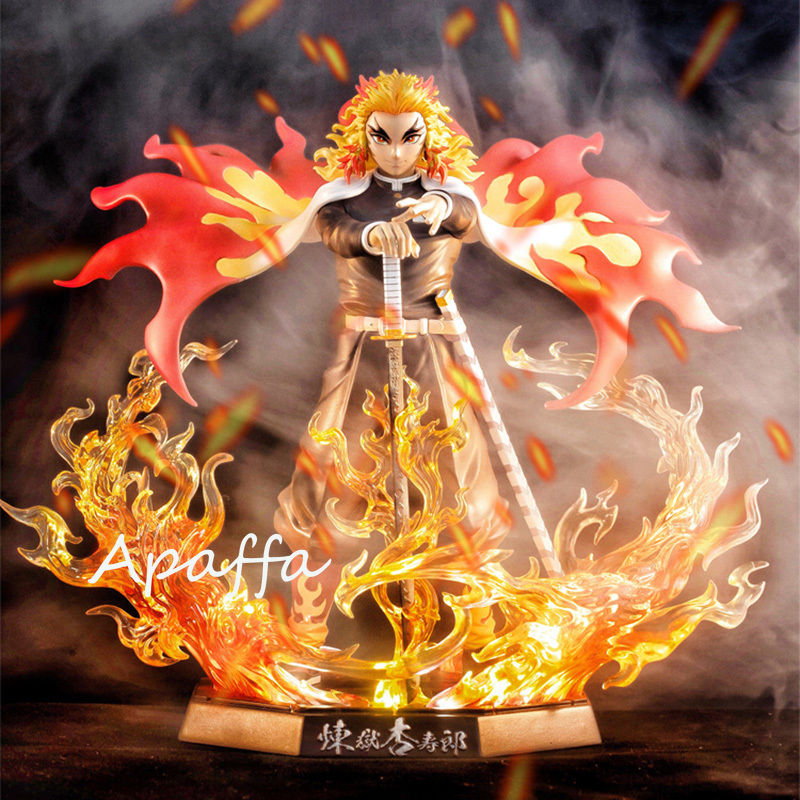 Newest 25cm Demon Slayer Anime Figure Rengoku Kyoujurou PVC Action Figure Toys GK Anime Kimetsu No Yaiba With Light Figurine Toy