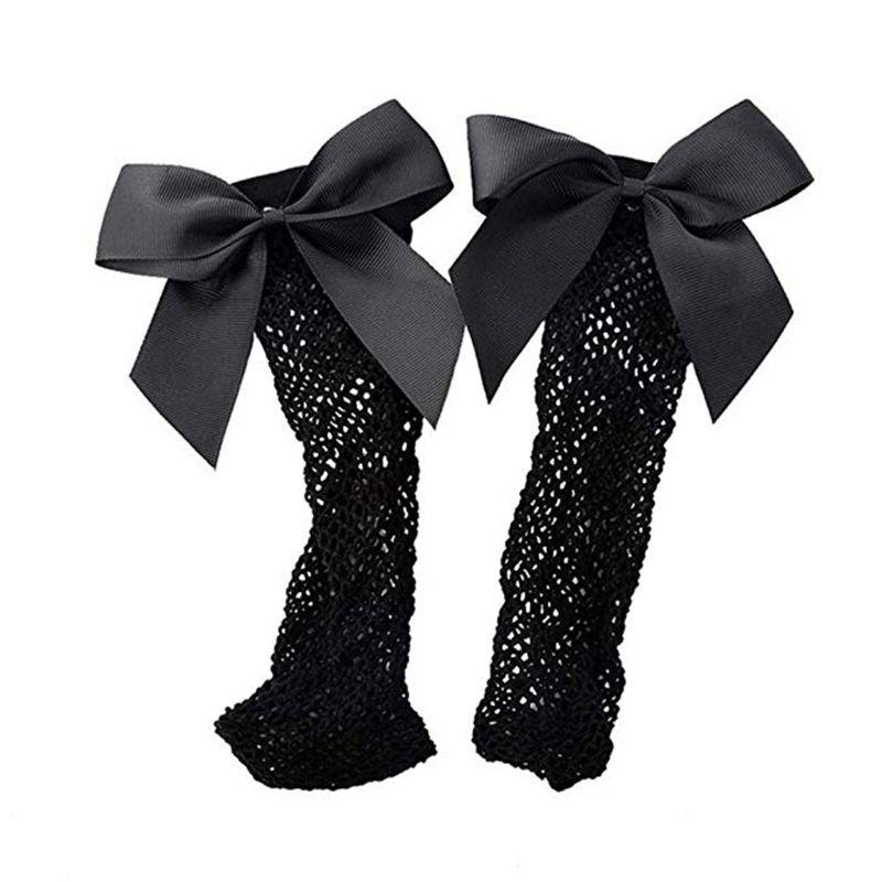 Girls Ankle High Socks Women Fishnet Mesh Fish Net Short Socks With Bownot D08C