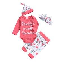 Топы с длинными рукавами для новорожденных и маленьких девочек 0-18 месяцев, боди, длинные штаны, леггинсы, повязка на голову, шапка, наряды, одежда для девочек, комплект из 4 предметов