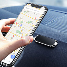 Soporte magnético de Metal para salpicadero de coche, Mini soporte con forma de tira para iPhone, Samsung, Xiaomi, GPS