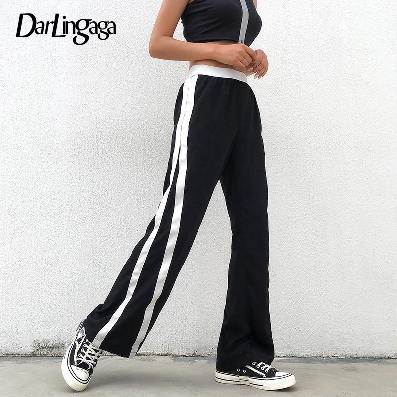 Darlingaga Casual Loose Wide Leg   Pants   Women Sweatpants Panelled Side Stripe Trousers Baggy High Waist   Pants   Harajuku   Capri   2019