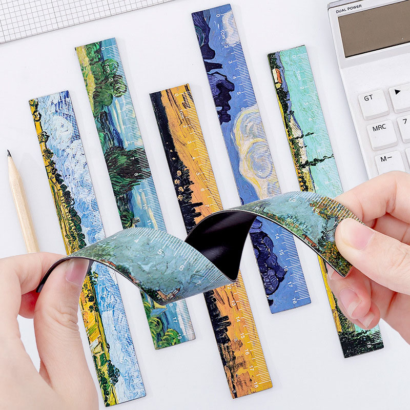 18cm Creative Oil Painting Magnetic Soft Ruler Student Plastic Bendable Measuring Ruler Korean Stationery Drawing Supplies